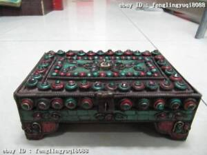 Old Copper inlay turquoise coral ruby beryl Jewelry Box