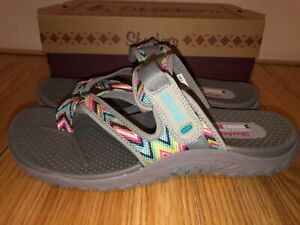 NEW Skechers Reggae Zig Zag Sandals Flip Flops Women's Size 10 M 48228 Gray