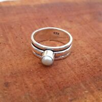Pearl Solid 925 Sterling Silver Spinner Meditation Statement Handmade Ring Rp7