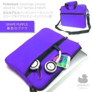 "Purple Travel Neoprene Shoulder Messenger Bag Sleeve Case for 13"" 13.3"" Laptop"