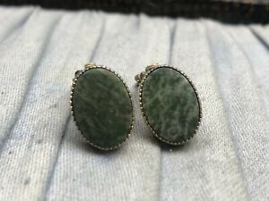 Vintage Clip On Earrings Gold Plated Green Moss Agate Quartz Oval 1/20th 12 KGP