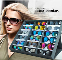 18-Slot Eyeglass Sunglasses Glasses Storage Display Grid Stand Case Box Holder