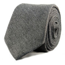 New Luxury Gentlemens Grey Skinny Country Tie -Tweed Woven Wool Style Necktie