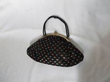 Vintage 30s Handbag Purse Kiss Clasp Satin Painted Deco Small Evening RAB Stones