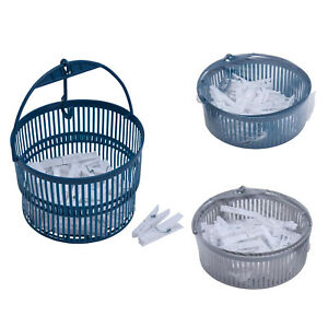 50 Clothes Pegs In Basket Hanging Collapsible With Hook Washing Line Plastic