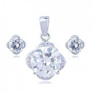18K WHITE GOLD PLATED & GENUINE CUBIC ZIRCONIA CLEAR NECKLACE & EARRING SET