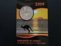 Australia. 2009 1oz Silver - Kangaroo at Sunset. With F12 Privy..  UNC/BU