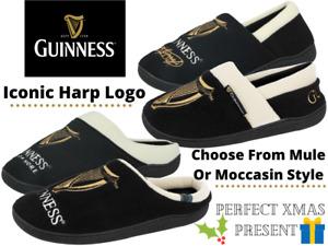 Mens Official Guinness Novelty Velour Luxury Moccasin Slip On Mules Slippers UK
