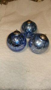 3 Crackled glass Christmas Ornaments thick glass crackled light-med blue