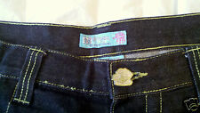 Miskeen Originals Mens Dark Blue Wash Denim Jeans Size 44 x 32  Embroidered