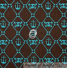 BonEful Fabric Cotton Quilt Brown Blue PIRATE Boy Anchor Skull Skeleton 99 SCRAP