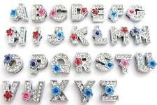 26 Alphabet A-Z Letter Crystal Rhinestone Flower Slider Charm/Bead/Beading K119