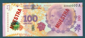 Argentina 2012 Commemorative 100 Pesos Specimen Pick 358as Eva Peron Muestra
