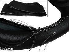 Real De Cuero Negro cubierta del volante Bordado Blanco Para Morris grandes 58-62