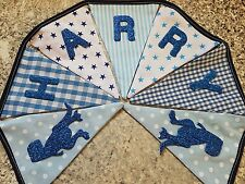 PERSONALISED DINOSAUR BUNTING- BLUE MIX- ANY NAME-£1 PER FLAG-FREE P&P