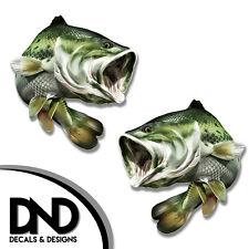 "Largemouth Bass - Fish Decal Fishing Hunting Bumper Sticker ""5in SET"" F-0310 D&"