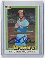 1981 BREWERS Sixto Lezcano signed card Donruss #207 AUTO Autographed Milwaukee