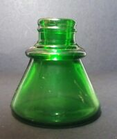 """Antique 1890's """"CARTER'S"""" On Base EMERALD GREEN CONE INK BOTTLE. Applied Top"""