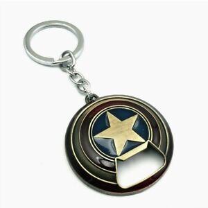 Marvel Avengers Captain America Shield Alloy Keychain Bottle Opener Bronze
