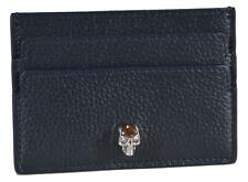 New Alexander Mcqueen 275333 Blue Leather Crystal Skull Card Case Wallet