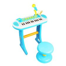 Boys Blue Childrens Electronic 31 Key Keyboard Piano Toy Record Microphone Stool