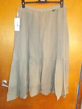 "Krizia Jeans Cotton Blend Fully Lined Tiered Long Skirt 16 W34"" L34"" Khaki BNWT"