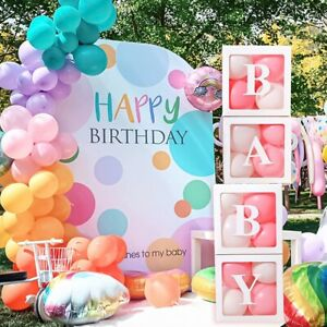 Cube Transparent Gift Boxes Balloon Storage Box Baby Shower Birthday Party Decor