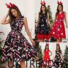 UK Womens Christmas Midi Swing Skater Dress Ladies Sleeveless Xmas Party Tie