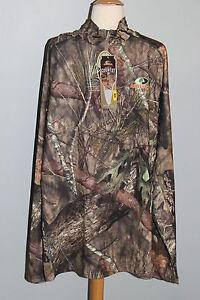 New MOSSY OAK Break-Up Country Mens Size M L 2XL Qtr Zip Top Camo Hunting Shirt