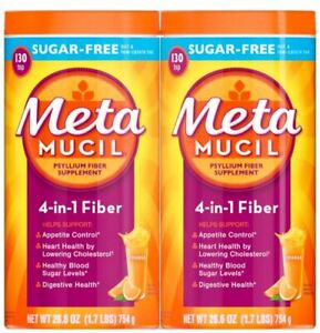 Metamucil Sugar Free Fiber Supplement Smooth Drink, Orange - 260 Servings