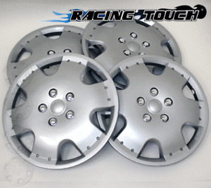 """#720 Replacement 16"""" Inches Metallic Silver Hubcaps 4pcs Set Hub Cap Wheel Cover"""