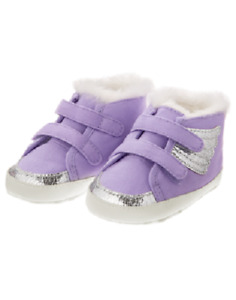 Gymboree Purple & Silver Sparkle Unicorn Wings Crib Shoes Baby Girl Size 3 NEW