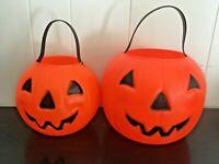 (2) Vintage Blow Mold Plastic Pumpkins Empire Halloween Jack O Lantern Bucket