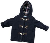 John Lewis Navy Blue Duffle Coat 18-24 Months Check Lining VGC
