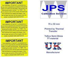 Electrical Labels - 50 IMPORTANT RCD Test  76 x 50mm JPSLABEL9