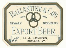 Pre-pro Ballantine & Co's Export Beer Label - Newark, NJ - H.A. Levins