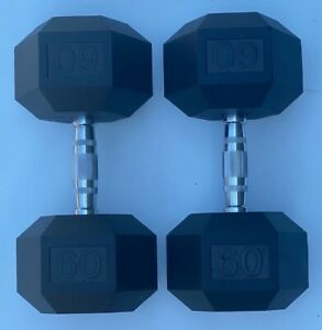 BRAND NEW 60LB PAIR OF RUBBER COATED HEX DUMBBELLS WEIGHTS FOR COMMERCIAL GYM
