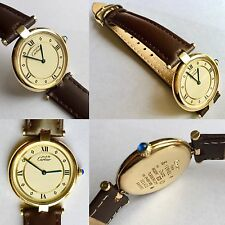 "Must De Cartier Paris ""Vermeil"" Ladies Gold Plated Silver Watch Superb Condition"