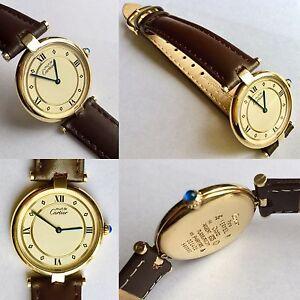"""Must De Cartier Paris """"Vermeil"""" Ladies Gold Plated Silver Watch Superb Condition"""