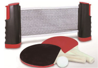 Table Tennis Ping Pong Set 2x Paddle Bats & Balls Extending Net Fits Any Table