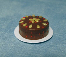 Fruit Cake, Dolls House Miniature, Food & Drink Accessory, 1.12 Scale Cake