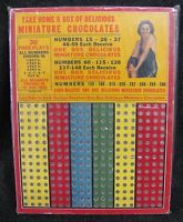 Vtg MINIATURE CHOCOLATES Punch Card Gambling 1c Cent Game Harlich MFG Co (AB242)