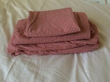 Pottery Barn Kids Red Gingham Twin Sheet Set Flat Fitted Pillow Case
