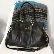Coach Black Ashley Leather Large Satchel Bag Purse