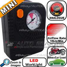 SWAC16 Mini 12v Compact Motor Bike Car Tyre Air LED Compressor Inflator Pump