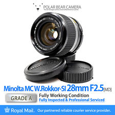 ⭐SERVICED⭐ MINOLTA 28mm F2.5 MC *RARE THORIUM* W.Rokkor-SI MD + Caps [GRADE A]