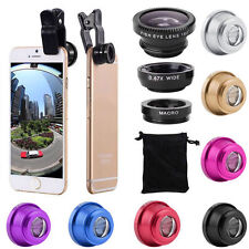 3 In 1 Fish Eye + Wide Angle + Macro Camera Lens Kit For Mobile Cell For iPhone
