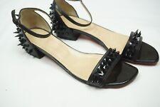 Auth Christian Louboutin Druide Black Spike Stud Ankle Flat Sandal 41 /11 US