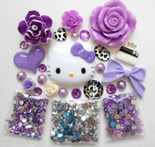 DIY 3D Kitty Lavender Bling Bling Flatback Cabochons Cell Phone Case Deco Kit