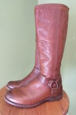 Frye 'Phillip Harness' Back Zip Tall Brown Leather Riding Boots Women Size 7.5 B